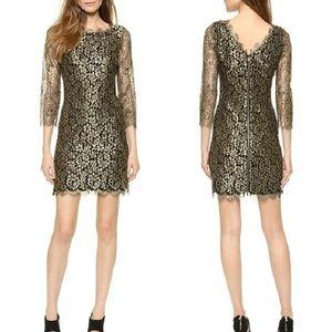 Diane von Furstenberg Zarita Gold Lace Dress Sz 2